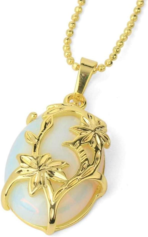 Collar Piedra Para Mujer,7 Chakra Piedra De Ópalo Natural Vintage Elegante Grabado Flor De Oro Colgante Cadena Delicada Encanto Gargantilla Reiki Balance De Energía Regalo De Moda Para Hombres Nov
