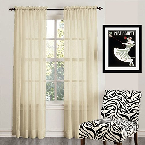 Solid Cream (Empire Home 2-Piece Solid Cream Sheer Voile Curtain Panel 84