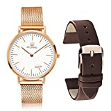 PROKING Women's Watches, Rose Gold Waterproof Watch,Couple Watches Sapphire Crystal Ultra thin Wrist Watches,Fashion Casual Watches with Replaceable Free Extra Leather Band(Women)