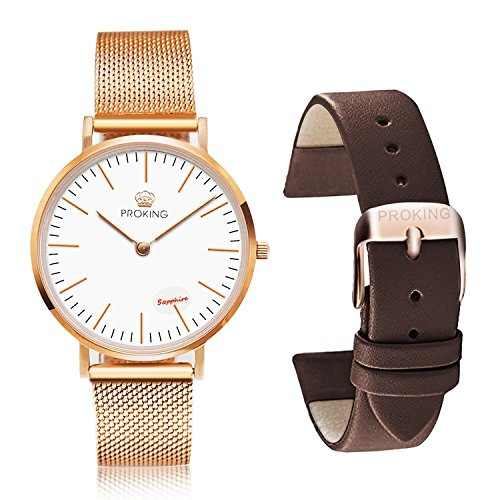 PROKING Women's Watch, Waterproof Rose Gold Watches,Couple Watches Sapphire Crystal Ultra thin Stainless Steel Wrist Watch,Ladies Fashion Watches with Free Extra Leather Band(Women, White) (Crystal Watch Sapphire)
