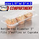 3 compartment Cupcake boxes 3 Cavity Cupcake boxes 3 compartment cupcake containers (24, 3 -Compartment)