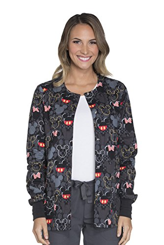- Cherokee Tooniforms Women's Snap Front Mickey Mouse Print Scrub Jacket XXXX-Large Print