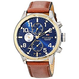 Tommy Hilfiger Mens Quartz Watch, multi dial Display and Leather Strap 1791137