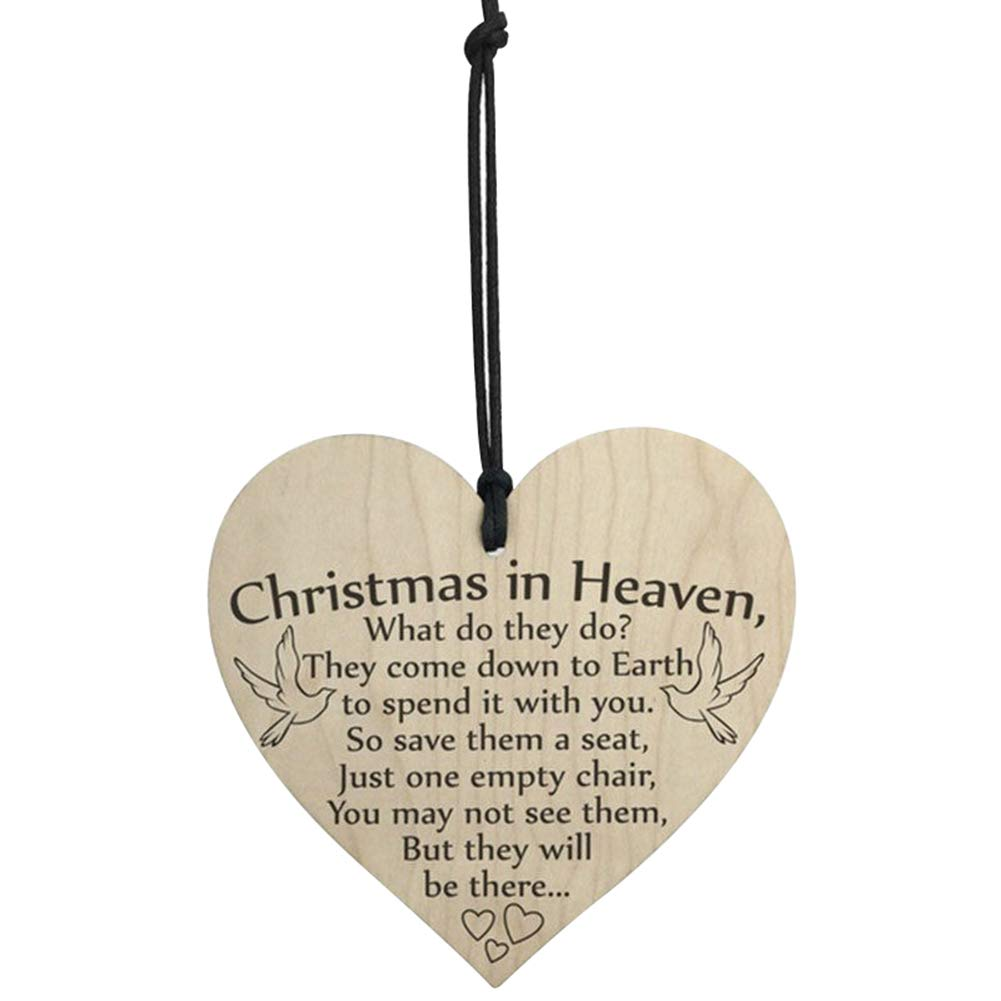 Bluelans Christmas Decorations, 1/4Pcs Heart Shape Letter Print Christmas Hanging Wooden Pendant Ornament Decor Xmas Gifts Xmas Stocking Fillers