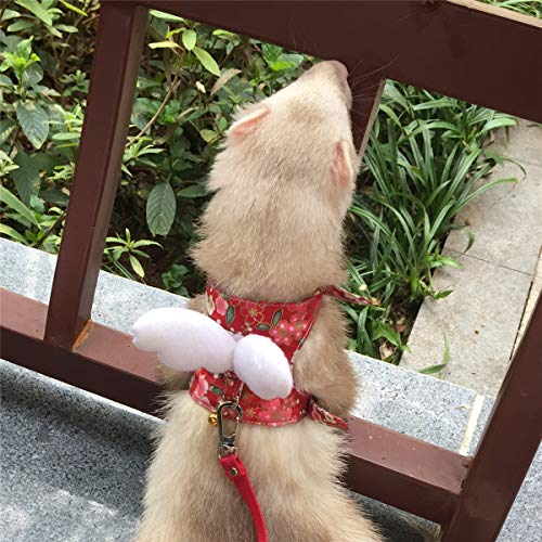 Ferret Harness and Leash Adjustable, Red Sakura Cotton Cloth Ferret Walking Vest, Soft and Breathable Ferret Lead Leash with Angel Wings and Safe Bell