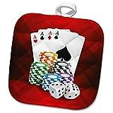 3dRose Sven Herkenrath Sport - Illustration of Poker Card with Chips Casino Hobby - 8x8 Potholder (PHL_294932_1)