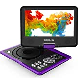"COOAU 9.5"" Portable DVD Player with Swivel Screen, 5 Hour Rechargeable Battery, Support"