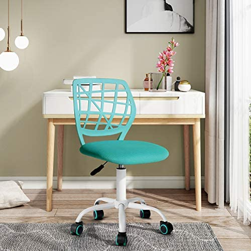 """FurnitureR Writing Task Chair 360 Swivel,Low Mid PP Mesh Back Fabric Seat, Height Adjustable, Rolling Castor,W15.7""""xD15.2""""x H29.5-34.2"""""""