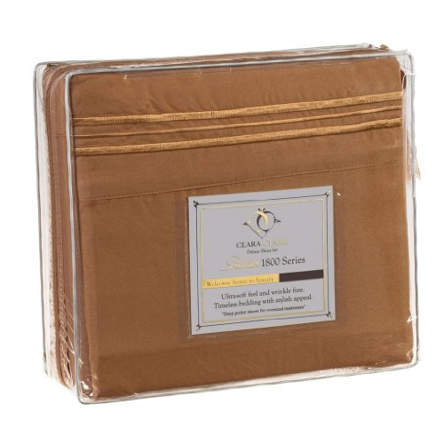 Clara Clark® Premier 1800 Collection 4pc Bed Sheet Set, RV Short Queen Size, Mocha Light Brown Carmel