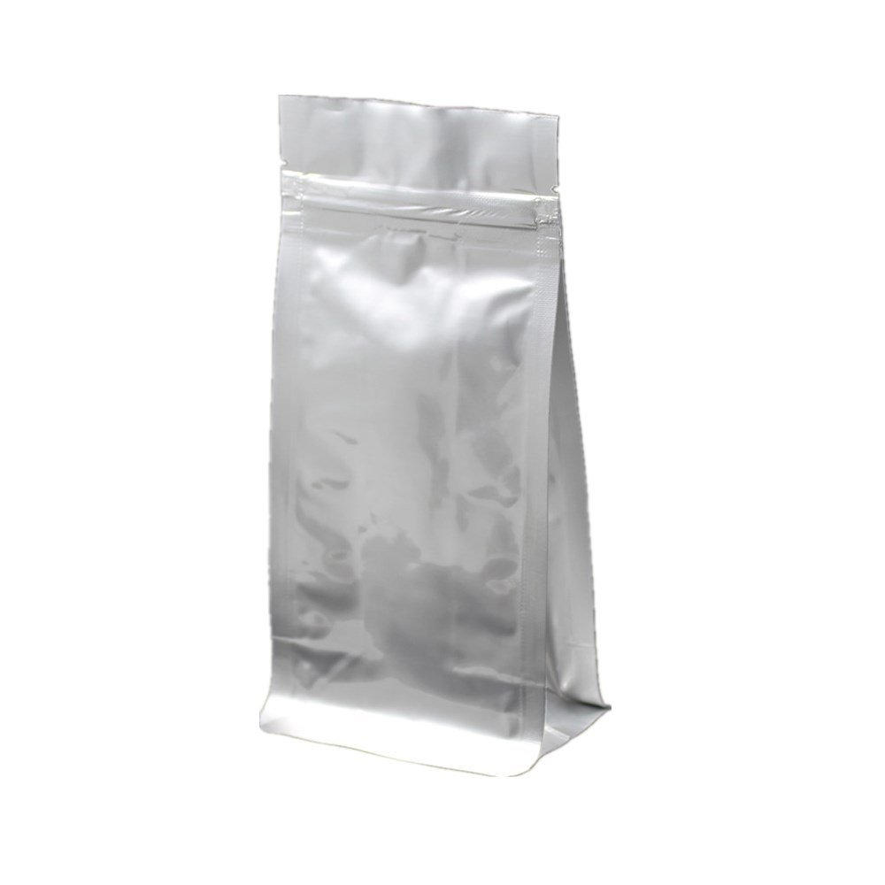250 Pcs 11x20+6cm (4.3x7.9+2.3 inch) Stand Up Pure Mylar Foil Reclosable Pack Double-Side Silver Aluminum Foil Heat Sealable Pouch Grocery Bulk Food Grade Coffee Storage Foil Wrappers