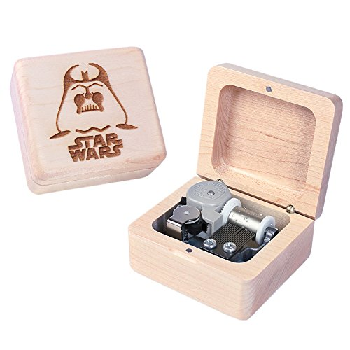 (Sinzyo Handmade Wooden Star Wars Music Box Wood Carved Mechanism Musical Box Gift for Christmas Valentine's Day,)