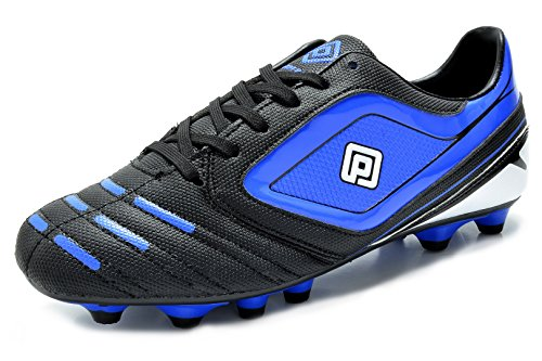 DREAM PAIRS 151028 Men's Sport Flexible Athletic Free Running Light Weight Indoor/Outdoor Lace Up Soccer Shoes Black-Blue Size 6.5