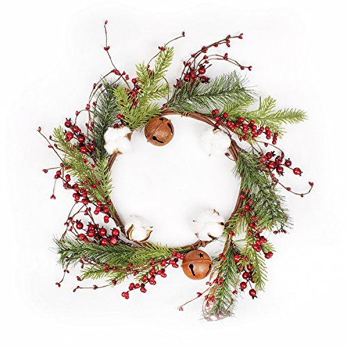 FAVOWREATH 2018 Christmas Series FAVO-W47 Handmade 20 inch Green Pine Branch,Berry,Cotton,Bell Grapevine Wreath Front Door/Wall/Fireplace Wedding Floral Hanger Home Decor