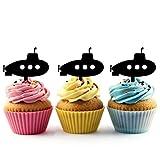 TA0047 Submarine Silhouette Party Wedding Birthday Acrylic Cupcake Toppers Decor 10 pcs