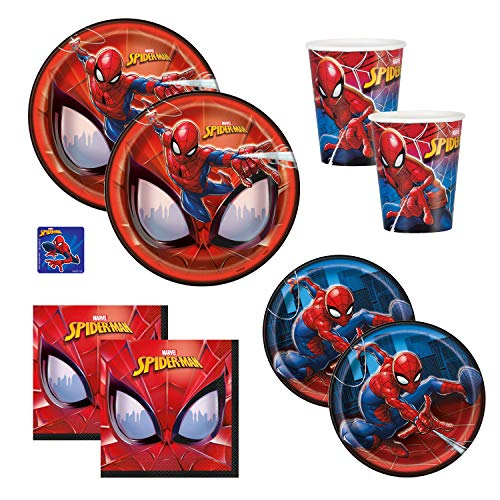 The Toy Express Spiderman Birthday Party Supplies Set - Includes Dinner Plates, Cake Plates, Napkins and Cups (Standard - Serves -