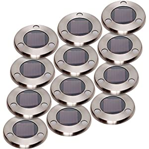 GreenLighting Solar Flat In-Ground Driveway Light Set 12 Pack (Stainless Steel)