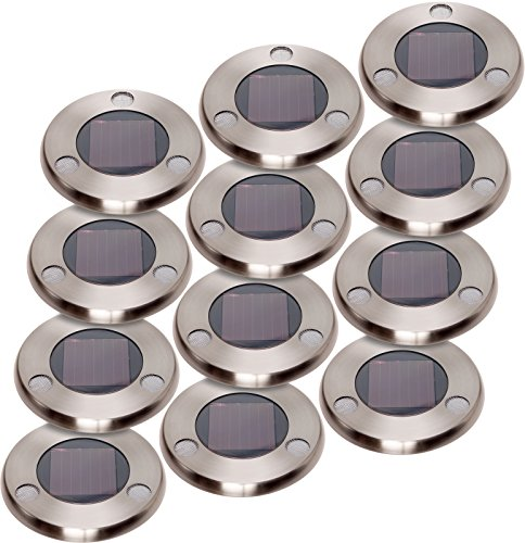 GreenLighting Solar Flat In-Ground Driveway Light Set 12 Pack (Stainless Steel) by GreenLighting