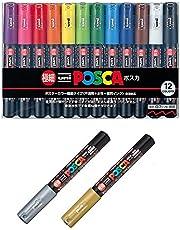 مجموعة خاصة لاقلام تحديد الطلاء (مجموعة ايه)، اقلام تحديد الالوان ميتسوبيشي، اقلام تحديد ملونة بدقة 12 لونًا (PC-1M12C)، ذهبي وفضي - من يوني بوسكا