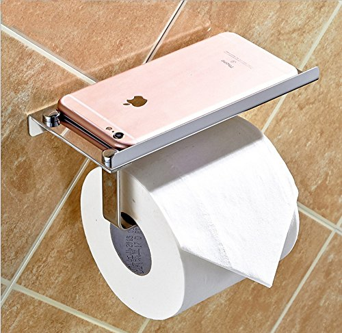 Adhesive Toilet Paper Holder with Shelf, YoyoKit Stainless Steel Toilet Roll Tissue Holder Bathroom Towel Rail Apply for Textured and Smooth Walls,Glass Door,Tile,Wallpaper