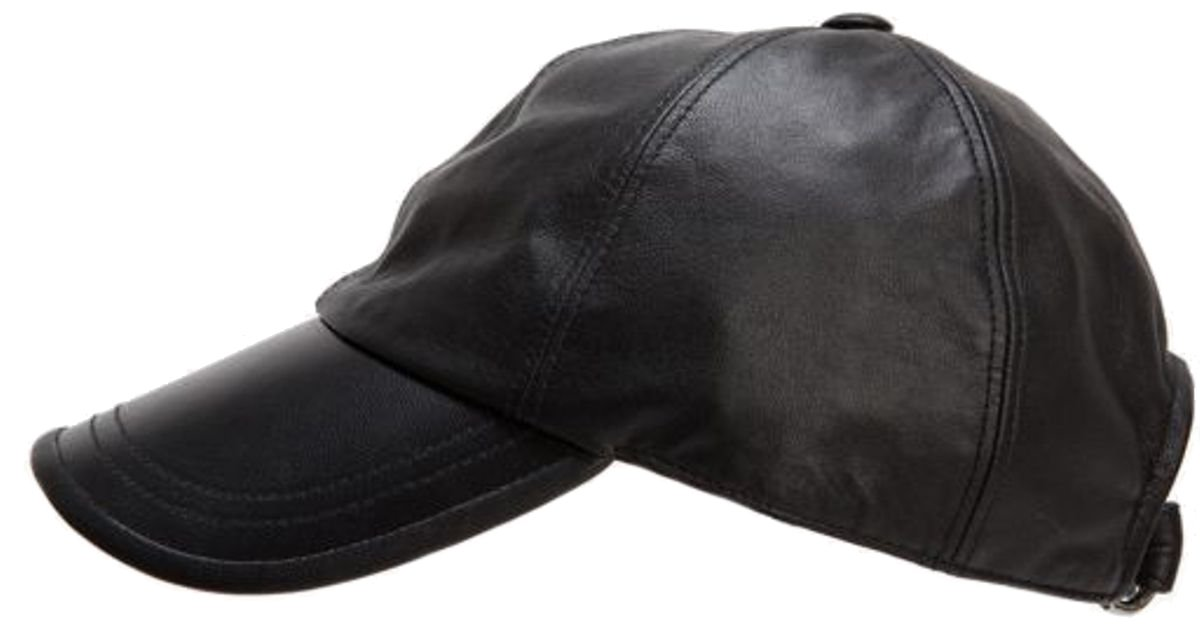 Hat Attack Leather Baseball Cap (Black)