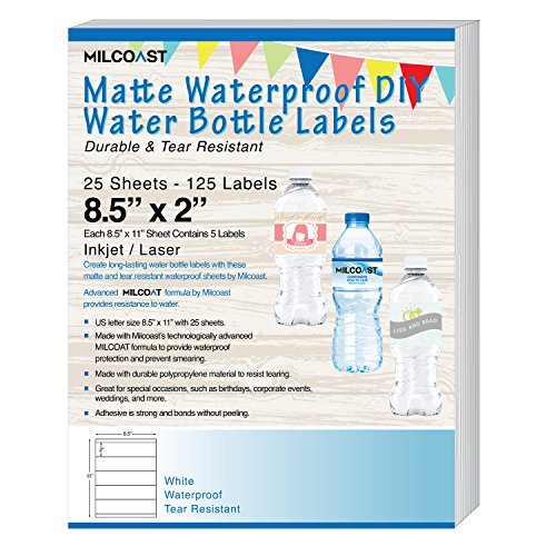 "Milcoast Matte Waterproof Tear Resistant DIY Water Bottle Labels 8.5"" x 2"" for Inkjet/Laser Printers - 25 Sheets"