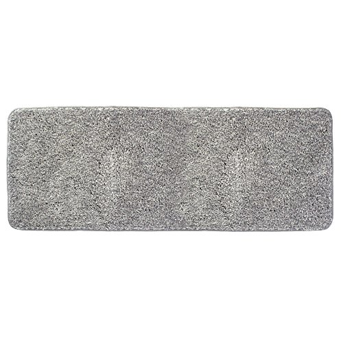 mDesign Soft Microfiber Polyester Non-Slip Extra-Long Spa Mat/Runner, Plush Water Absorbent Accent Rug for Bathroom Vanity, Bathtub/Shower, Machine Washable - 60'' x 21'' - Heathered Gray by mDesign
