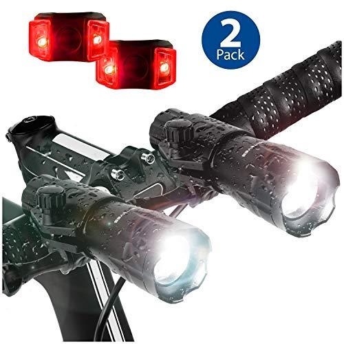 (Bright Eyes 2-Pack - Aircraft Aluminium Waterproof 300 Lumen LED Bike Light Set (Headlight, Taillight))
