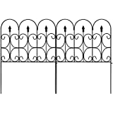 Amagabeli Decorative Garden Fence 32in x 10ft Outdoor Coated Metal Rustproof Landscape Wrought Iron Wire Border Folding Patio Fences Flower Bed Fencing Barrier Section Panels Decor Picket Edge Black