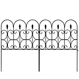 decorative fence panels Amagabeli Decorative Garden Fence 32in x 10ft Outdoor Coated Metal Rustproof Landscape Wrought Iron Wire Border Folding Patio Fences Flower Bed Fencing Barrier Section Panels Decor Picket Edge Black
