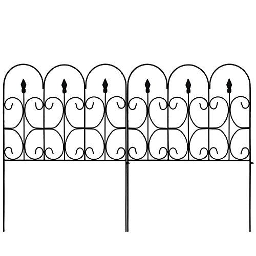 Amagabeli Decorative Garden Fence 32in x 10ft Outdoor Coated Metal Rustproof Landscape Wrought Iron Wire Border Folding Patio Fences Flower Bed Fencing Barrier Section Panels Decor Picket Edge Black -