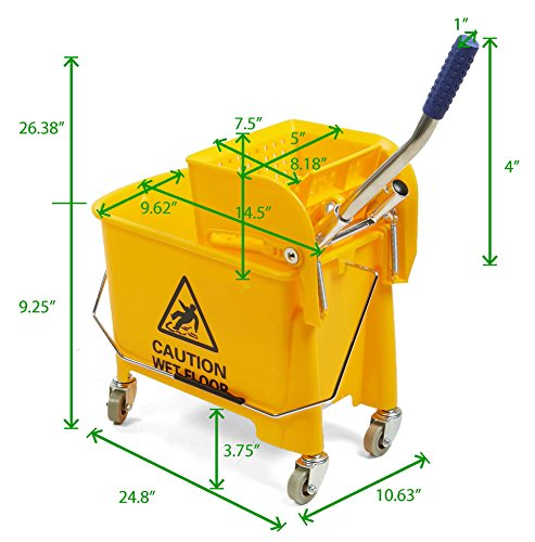 Mind Reader Commercial Mop Bucket - with Down Press Wringer - 22 Quart Capacity - Yellow by Mind Reader (Image #7)
