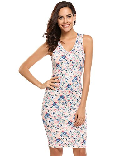 HOTOUCH Women's Sweetheart Sleeveless Cocktail Party Bodycon Midi Dresses Pink S