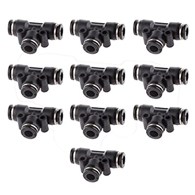 10 Pieces Tube OD 6mm 1/4'' Equal Tee Union Pneumatic Air Line Fittings Quick Release Nylon Tube Superior Quality Easy Installation