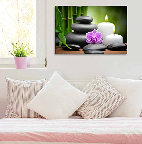 Zen Basalt Stones and Orchid Spa Beauty and Calmness Concept Wall Decor ()
