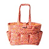 Floral Quilted Cotton Needle Bag Knitting Bag Yarn Storage Tote (Orange)