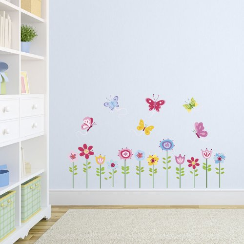 Amazon.com: Bright Butterfly Garden Decorative Peel U0026 Stick Wall Art  Sticker Decals: Baby