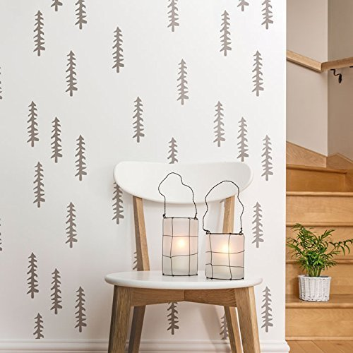 Siberian Taiga wall stencils for painting - Expedited 3 days delivery - Scandinavian wall decor - Reusable Wall Stencil - Decorative tree stencil