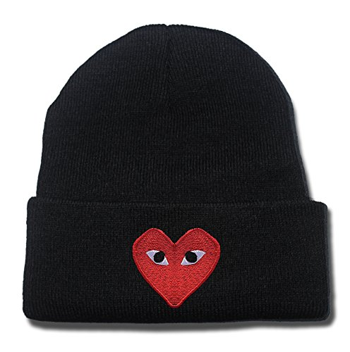 Heart Machine Embroidery (YINGMIN Play Comme Des Garcons Red Heart Eyes Logo Beanie Fashion Unisex Embroidery Beanies Skullies Knitted Hats Skull)