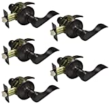Probrico Oil Rubbed Bronze Passage Door Lever Handle Lock Hall and Closet Keyless Locksets 5 Pack