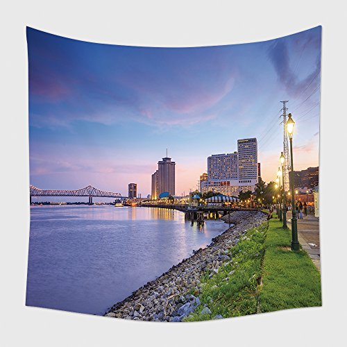 Home Decor Tapestry Wall Hanging Downtown New Orleans Louisiana And The Missisippi River At Twilight for Bedroom Living Room - Orleans River New Walk