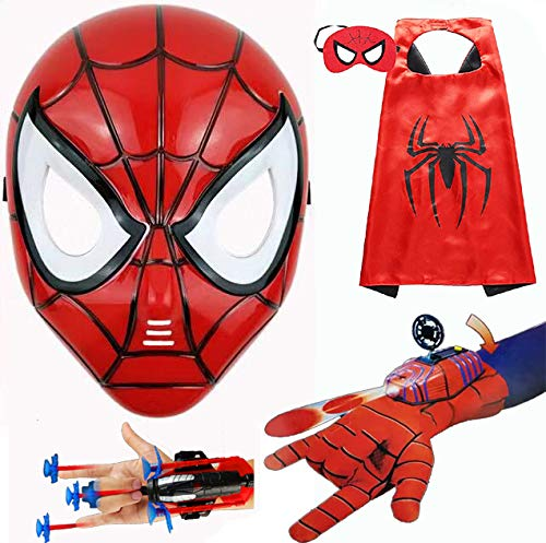 HSSKJ Kids Superhero Dress Up Costumes - Satin Capes Felt Masks LED Light Eye Mask and 2 Toy Transmitter by HSSKJ (Image #5)