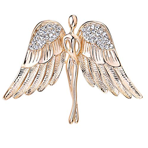 OKAJEWELRY Guardian Angel Brooch Jewel Bouquet Crystal Pin Gold Tone - Valentine's Day Gift