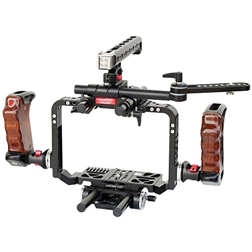 CAMTREE HUNT BMCC Pro Cage Rig for Blackmagic Cinema Camera/Production Camera 4K (CH-CPRO-BMC) with Top & Side Handles, Dovetail Tripod Plate & EVF Mount by Camtree