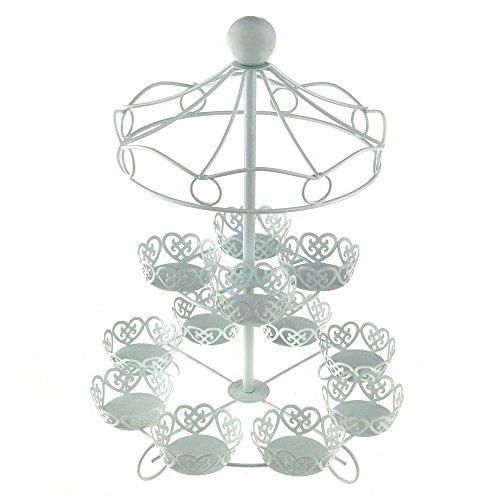 Charmed Carousel Cupcake Stand, Holds Up To 12 Cupcakes, White (Circus Stand Holder Cupcake)