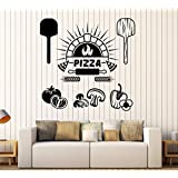 Vinyl Wall Decal Pizza Italian Restaurant Cooking Stickers Large Decor (ig4075) Dark Blue