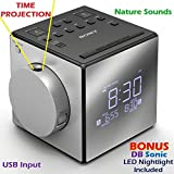 """Sony Time Projection Dual Gradual Alarm Clock & Noise Maker Sound Machine with 5 Nature Sounds, USB input for Cell Phone Charging, Digital AM/FM Radio Tuner, 10 Station Presets, Sleep Timer, Extendable Snooze, Radio or Buzzer Alarm Sound, Gradual Alarm Volume Enhancer, Large Half Mirror LCD Display, Brightness Control, 3"""" Built-in Speaker & Battery Back-Up *BONUS* DB Sonic LED Nightlight"""