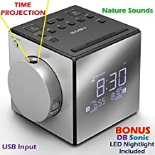 "Sony Time Projection Dual Gradual Alarm Clock & Noise Maker Sound Machine with 5 Nature Sounds, USB input for Cell Phone Charging, Digital AM/FM Radio Tuner, 10 Station Presets, Sleep Timer, Extendable Snooze, Radio or Buzzer Alarm Sound, Gradual Alarm Volume Enhancer, Large Half Mirror LCD Display, Brightness Control, 3"" Built-in Speaker & Battery Back-Up *BONUS* DB Sonic LED Nightlight"