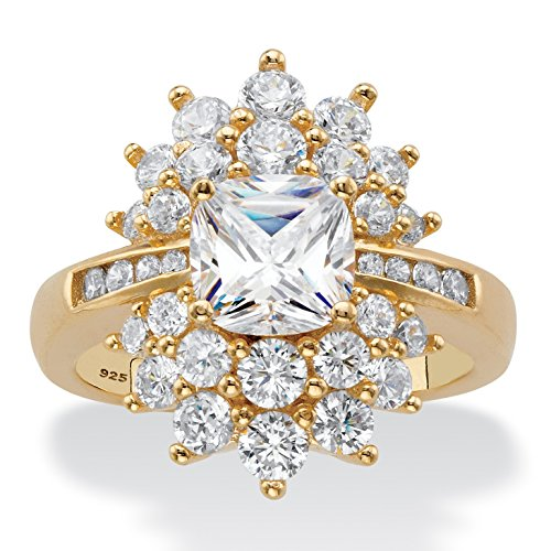 14K Yellow Gold over Sterling Silver Cushion Cut Cubic Zirconia Flower Starburst Ring Size 10 (14k Gold Yellow Starburst)
