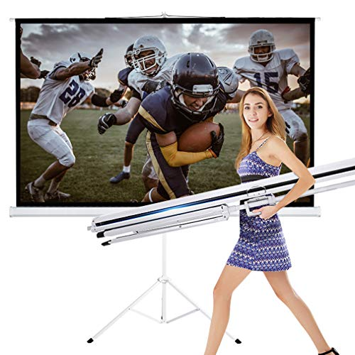 - TV Projector Screen with Stand 100 Inch 16:9 HD Foldable Tripod Movie Screen for Home Theater Cinema Wedding Party Office Presentation