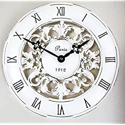 Shabby Chic Vintage French Style Wall Clock In Antique Cream - Perfect Country Kitchen Clock by Clocks